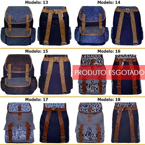 mochila bolsa jeans letras grande azul escuro feminina