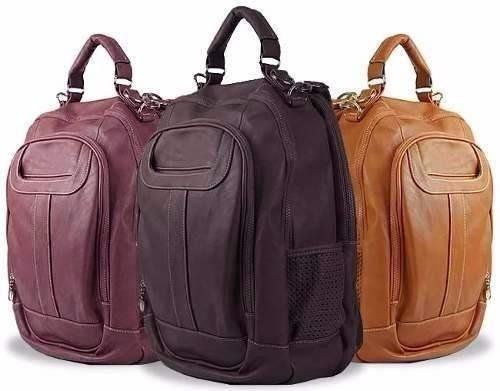 mochila bolsa média de couro feminina notebook varias cores