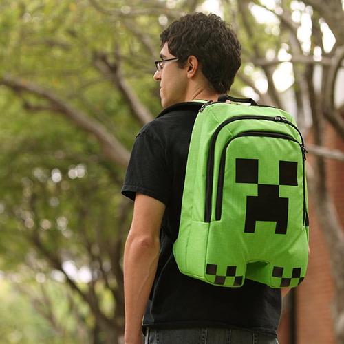 mochila bolsa minecraft creeper think geek escolar + brinde