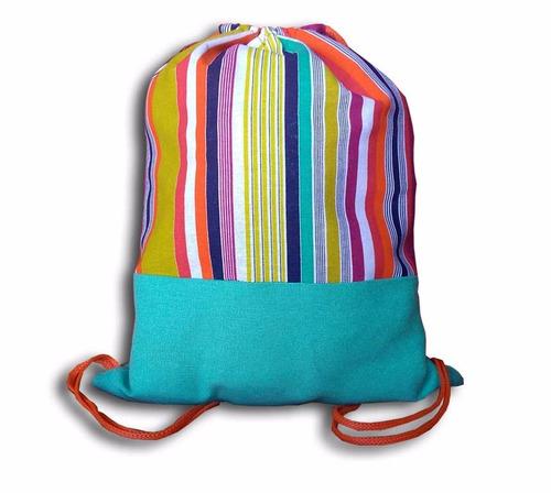 mochila bolsa rayada colores tela cordon playa varios modelo