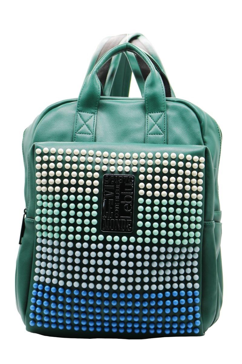 0e9859fc2 mochila bolso cuero ecologico mujer urbana verde leblu c9161. Cargando zoom.