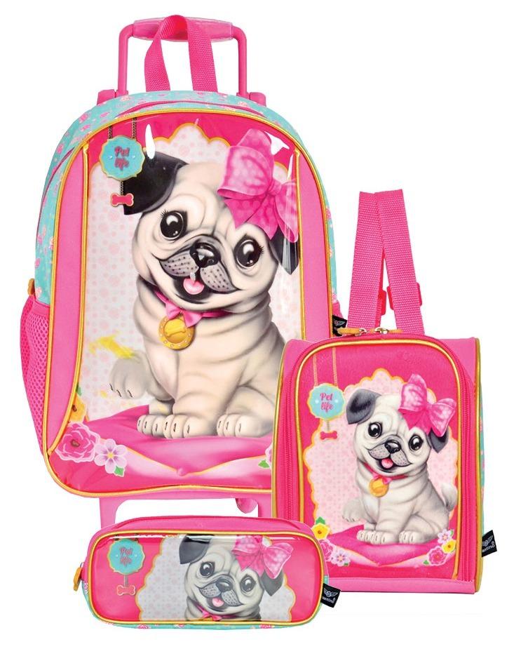 e8379b6989 mochila cachorrinha pug rodinhas lancheira estojo kit escola. Carregando  zoom.