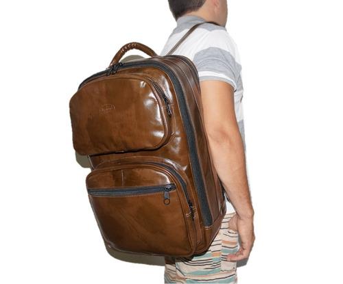 mochila camping couro legítimo promoção volta as aulas