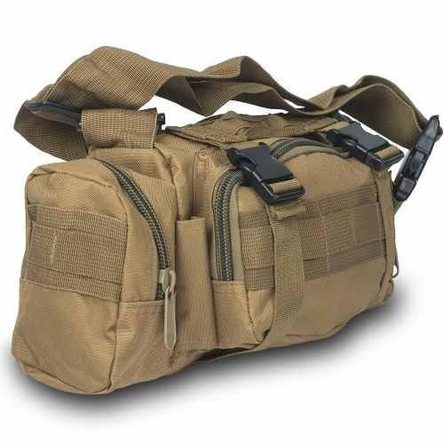 mochila cangurera tactica militar cafe d3024
