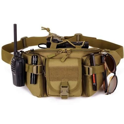 mochila cangurera tactica militar cafe d3027
