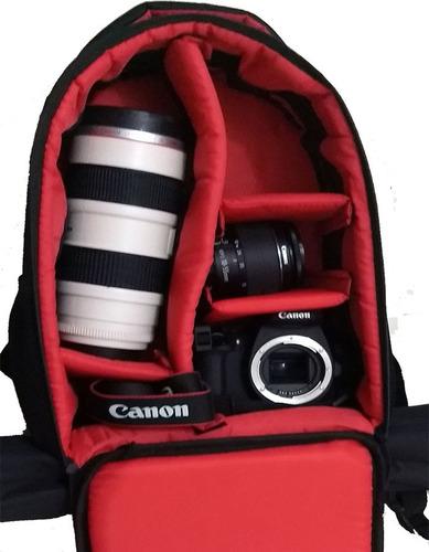 mochila canon p/ camera, lentes c/ porta tripé a36xl14xc24cm