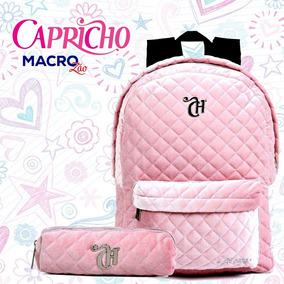 Original Rosa Mochila Capricho Veludo Dmw 11310 Estojo PwkTXliOZu