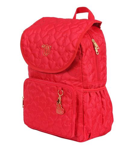 mochila capricho love vermelha com tampa e estojo 2 divisões