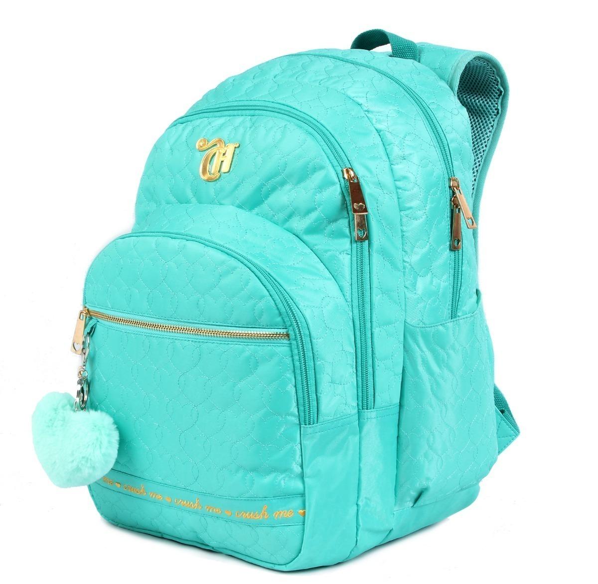 ee553cf09cb5c Mochila Capricho Verde Azul Tiffany 2019 + Estojo Luxo - R  359