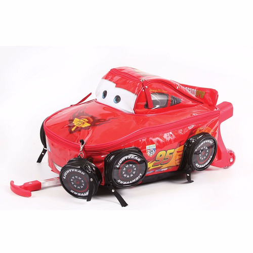 mochila carrinho carros mcqueen 3d g brilhante dermiwil