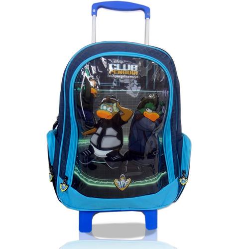 mochila carrinho club penguin dermiwil infantil mala escolar