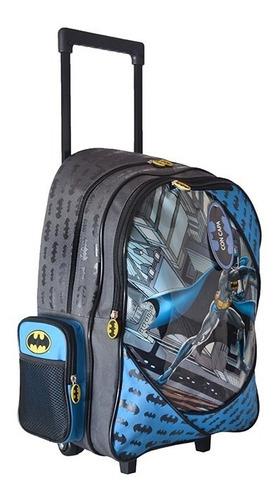 mochila carrito batman lujo capa + cartuchera 19 red lateral