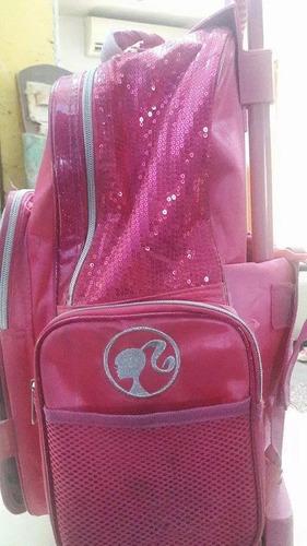 mochila carrito - escolar frente rebatible barbie original