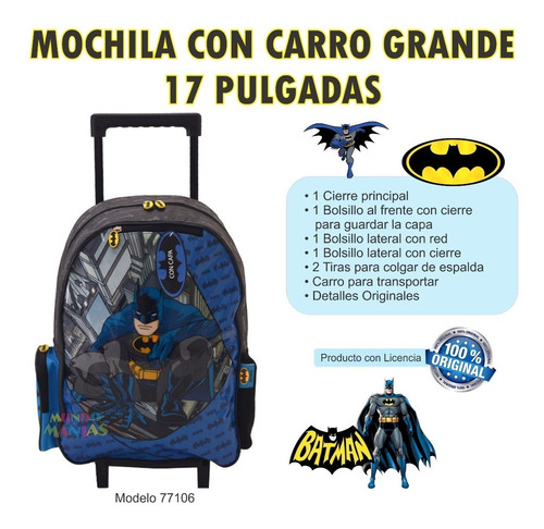 mochila carro grande 17pulg batman con capa mundo manias