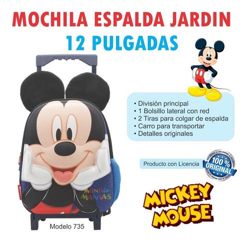 mochila carro jardin 12 pulg disney mickey minnie con orejas