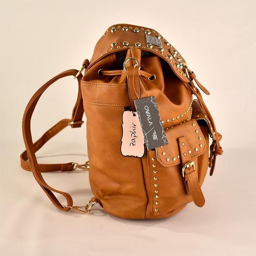 mochila cartera grande facultad cuero ecologico tachas suela