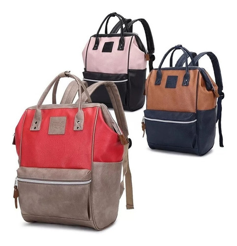 mochila cartera mujer cuero ecologico grande urbana mochilas