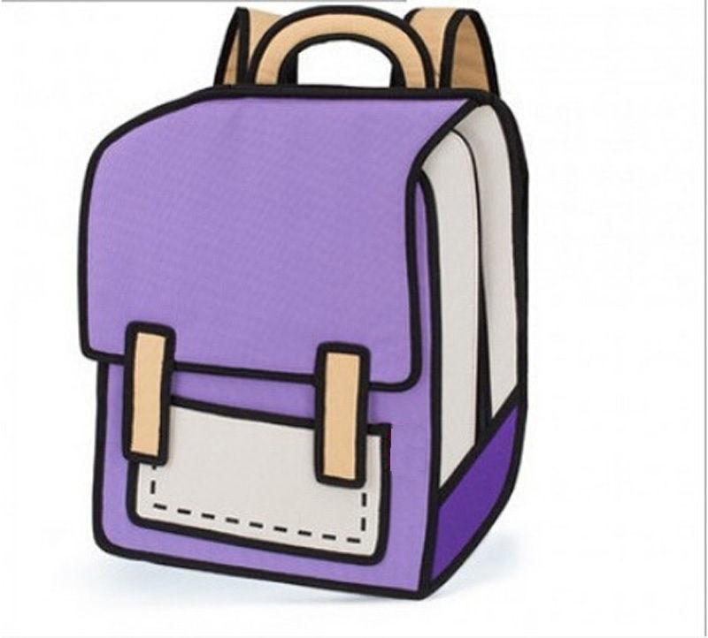 Cartoon 3d Mochila Messenger Moda Dibujo Backpack 2d lJc3KuT1F
