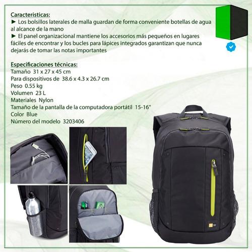 mochila case logic porta notebook hasta 15.6 wmbp-115 gris