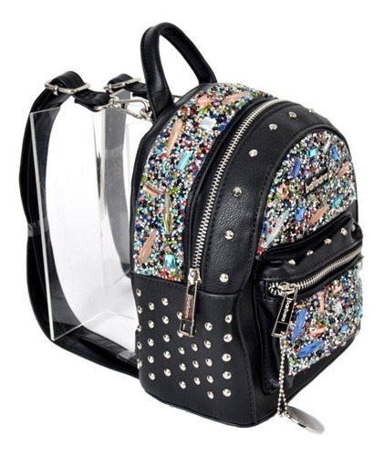 mochila chica mujer barbara art: xu45 bolsillos tachas new