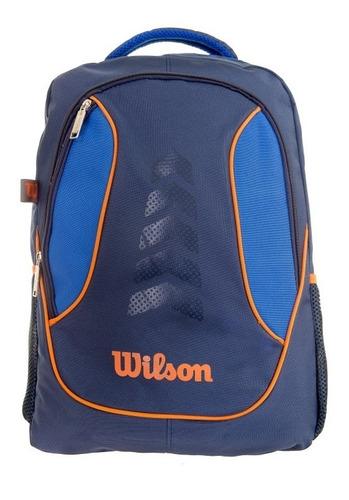 mochila clasica wilson azul/anaranjado