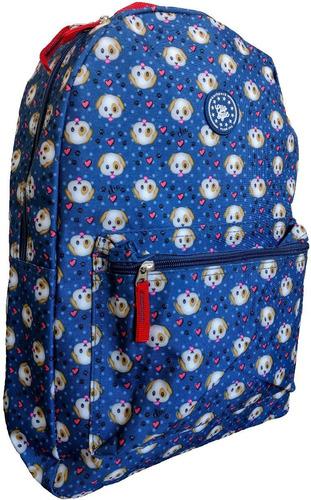mochila cão azul masculina feminina juvenil emoji cachorro