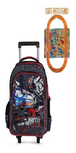 mochila com rodinhas 360 e lancheira hotwheels + dino dtc
