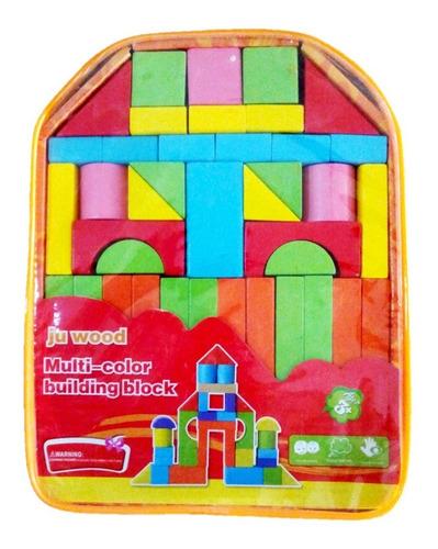 mochila con 40 bloques de madera pequeños preescolar