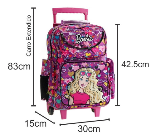 mochila con carro grande 17 pulg barbie 16701 mundo manias