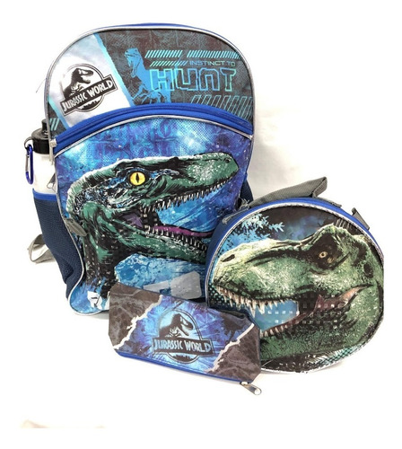 mochila con lonchera jurassic world original