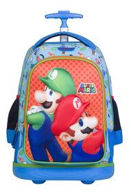 en venta eb187 d4c7e Mochila Con Ruedas Led Chenson Mario Bros Mario Y Luigi.