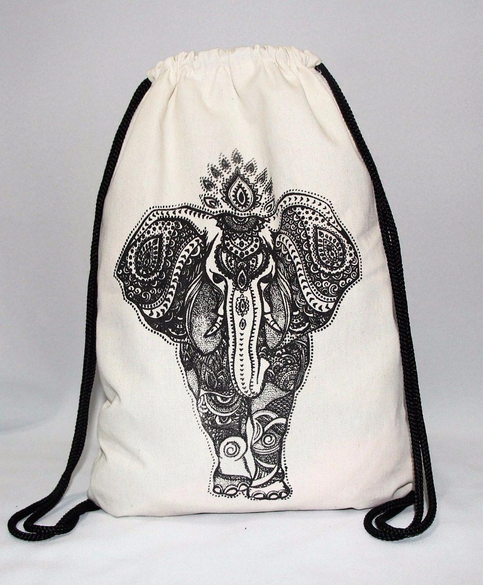 101235757 Mochila Cordón Bolsa De Tela Playa Artesanal - $ 180,00 en Mercado Libre