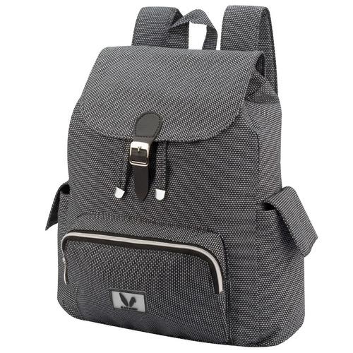mochila costas casual em sarja peletizada preto mescla