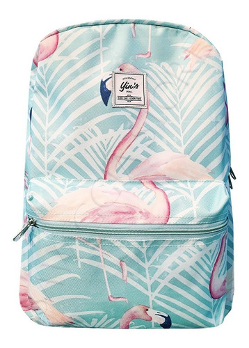 mochila costas feminina escolar estampa flamingo mj1407