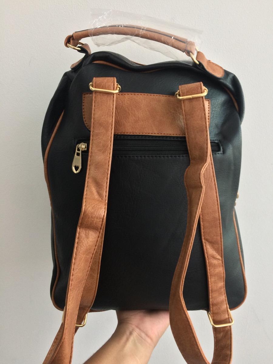 0ed57160a mochila couro sintético feminina escolar/faculdade preta mar. Carregando  zoom.