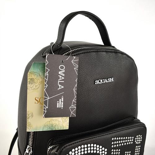 mochila cuero ecologico tachas negra mujer squash original