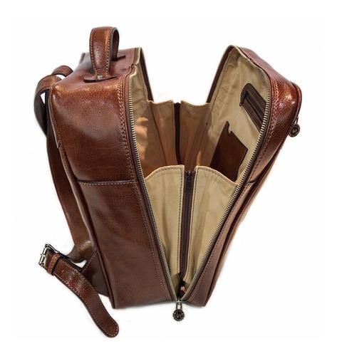 mochila cuero hombre mujer viaje porta notebook 15.6 modelo 1158