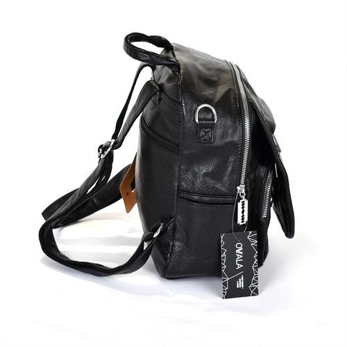 mochila cuero sintetico mujer cartera negra amayra strass