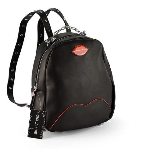 mochila cuero sintetico urbana negra original