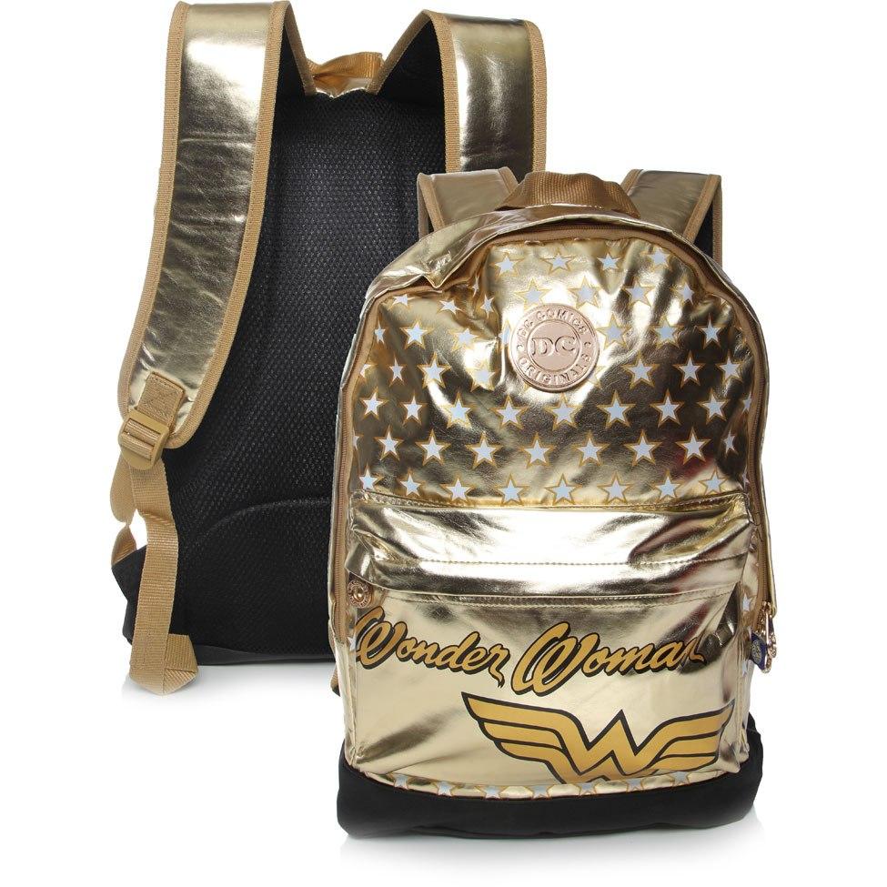 9fce55203 Mochila Dc Mulher Maravilha Dourada - Santino - R$ 99,99 em Mercado ...