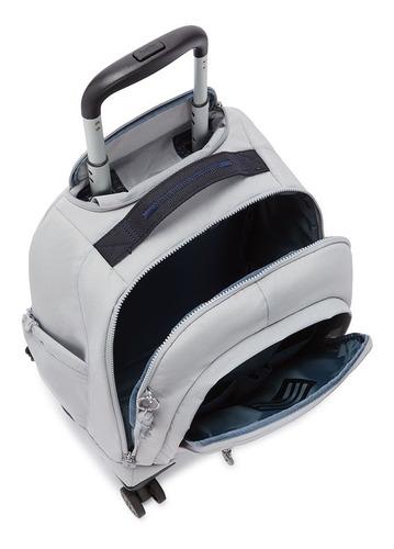 mochila de 4 rodinhas e costas zea kipling cor cinza