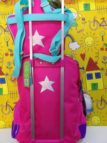 mochila de carrinho barbie c/ lancheira e caixa de som