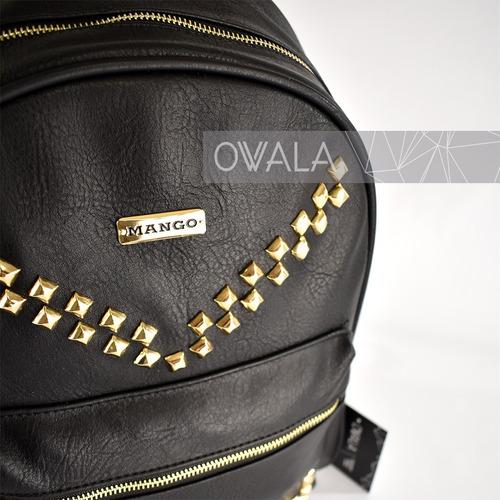 mochila de cuero sintetico mujer urbana negra tachas mango