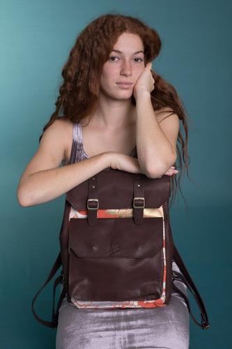 mochila de cuero y brocato japonés aim bags