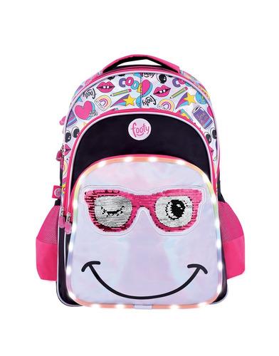 mochila de espalda footy emoji con led y lentejuelas 18