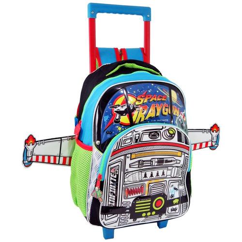 mochila de foguete carros escolar infantil masculino rodinha