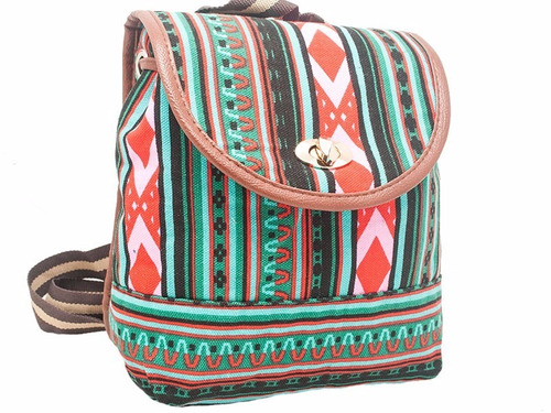 mochila de gabardina estampa indian style - en rojo