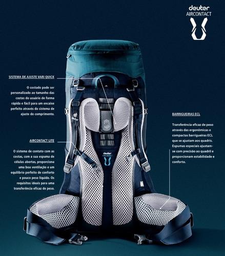mochila deuter c/ capa de chuva aircontact pro 70+15l azul