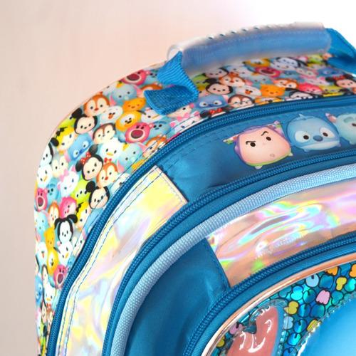 mochila disney tsum tsum con luz - 45x32x16 cms - 18 pulgada