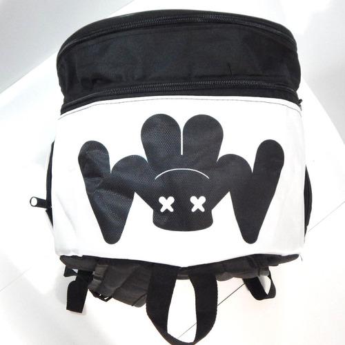 mochila dj marshmello cara marshmallow mascara casco blanco